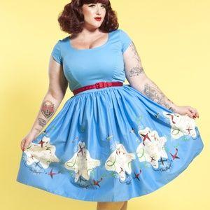 Blue Mary Blair Planes A-Line Dress